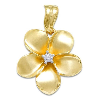Maui Divers Jewelry Plumeria Pendant with Diamond-14K Yellow Gold~23mm