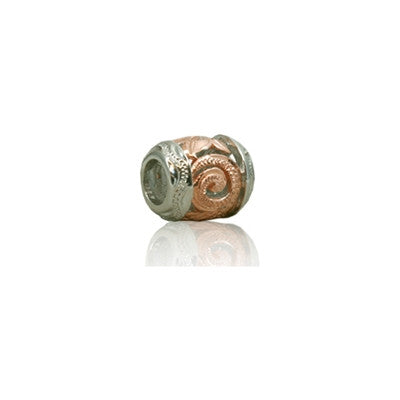 Sterling Silver Hawaiian Rose Cut-in Scroll Bead