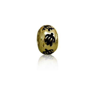 Sterling Silver Hawaiian Gold Black Enamel Honu Bead