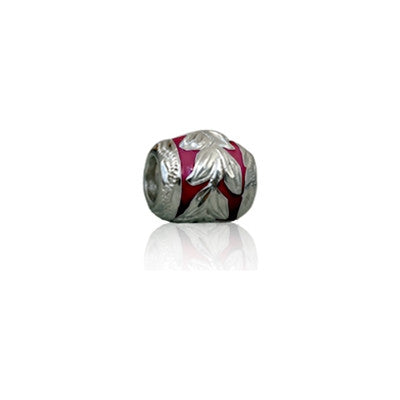 Sterling Silver Hawaiian Maile Leaf with Fuschia Enamel Bead