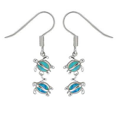 Sterling Silver Hawaiian Blue Opal Double Honu Earrings