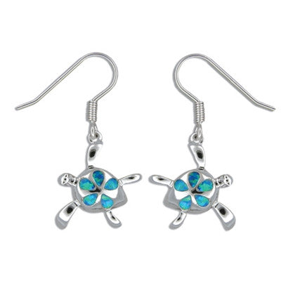 Sterling Silver Hawaiian Honu Blue Opal Plumeria Earrings