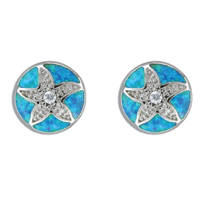 Sterling Silver Hawaiian Sand Dollar Blue Opal Earrings