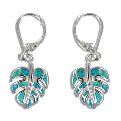 Sterling Silver Hawaiian Blue Opal Monstera Leaf Earrings