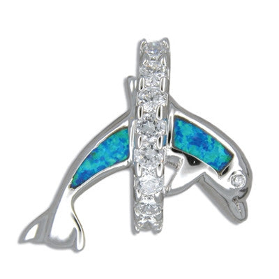 Sterling Silver Jumping Blue Opal Dolphin & Hawaiian CZ Lei Pendant