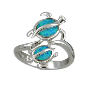 Sterling Silver Hawaiian Blue Opal Double Honu Ring