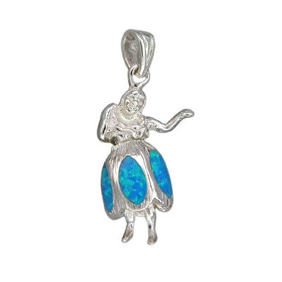 Sterling Silver Hawaiian Blue Opal Hula Girl Pendant~Large