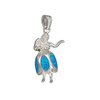 Sterling Silver Hawaiian Blue Opal Hula Girl Pendant~Small