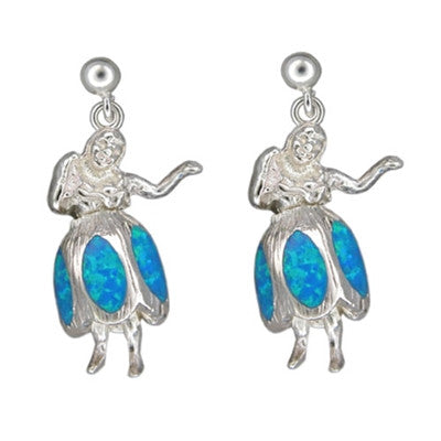 Sterling Silver Hawaiian Blue Opal Hula Girl Earrings