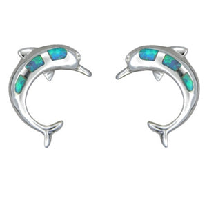 Sterling Silver Hawaiian Blue Opal Dolphin Earrings