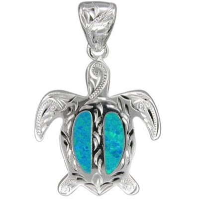 Sterling silver hawaiian hand carved blue opal honu pendantlarge sterling silver hawaiian hand carved blue opal honu pendantlarge aloadofball Image collections