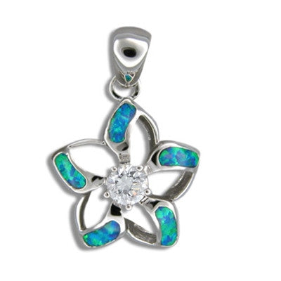 Sterling Silver Hawaiian Cut-in Blue Opal Plumeria Pendant
