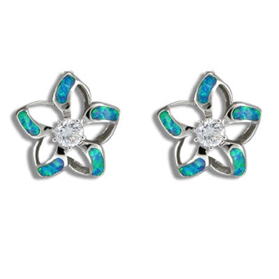 Sterling Silver Hawaiian Cut-in Blue Opal Plumeria Earrings