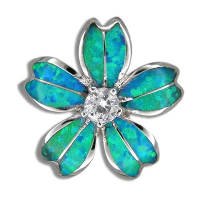 Sterling Silver Hawaiian Blue Opal Fancy Plumeria Pendant