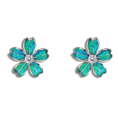 Sterling Silver Hawaiian Blue Opal Fancy Plumeria Earrings