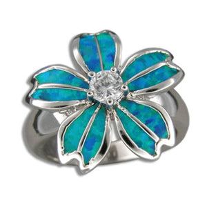 Sterling Silver Hawaiian Blue Opal Fancy Plumeria Ring