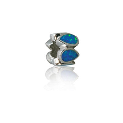 Sterling Silver Hawaiian Rhodium Opal Bead