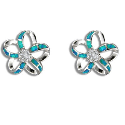 Sterling Silver Hawaiian Cut Out Blue Opal Plumeria Earrings