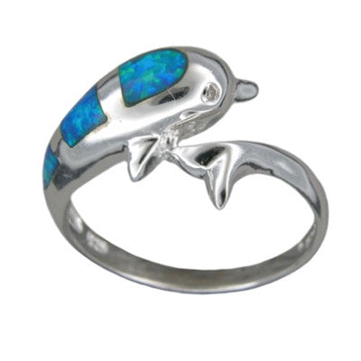 Sterling Silver Hawaiian Blue Opal Dolphin Ring