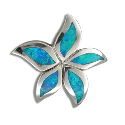 Sterling Silver Hawaiian Blue Opal Tiare Flower Pendant