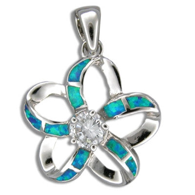 Sterling Silver Hawaiian Cut Out Blue Opal Plumeria Pendant