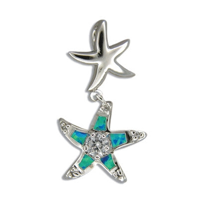Sterling Silver Hawaiian Two Starfish Blue Opal Pendant