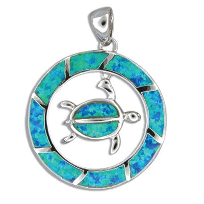 Sterling Silver Hawaiian Blue Opal Honu in Circle Pendant