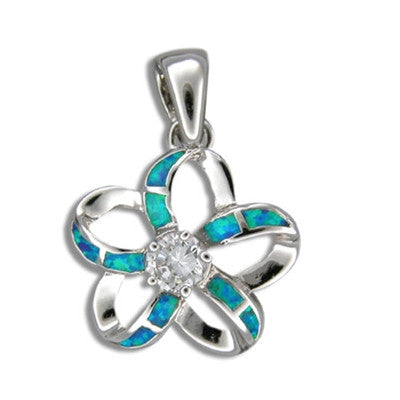 Sterling Silver Hawaiian Cut Out Blue Opal Plumeria Pendant-Small