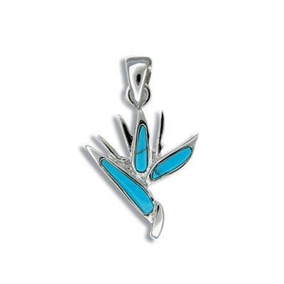 Sterling Silver Hawaiian Blue Turquoise Bird of Paradise Pendant