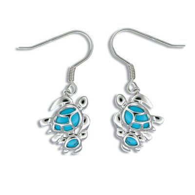 Sterling Silver Hawaiian Blue Turquoise Mother & Baby Honu Earrings