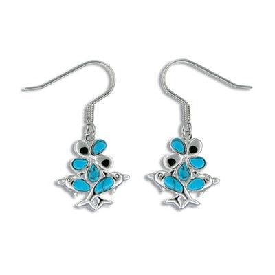 Sterling Silver Hawaiian Blue Turquoise Plumeria & Dolphin Bouquet Earrings