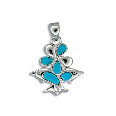 Sterling Silver Hawaiian Blue Turquoise Plumeria & Dolphin Bouquet Pendant
