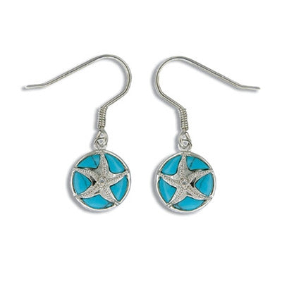 Sterling Silver Hawaiian Blue Turquoise Sand Dollar CZ Earrings