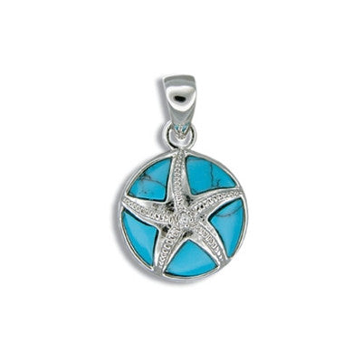 Sterling Silver Hawaiian Blue Turquoise Sand Dollar CZ Pendant