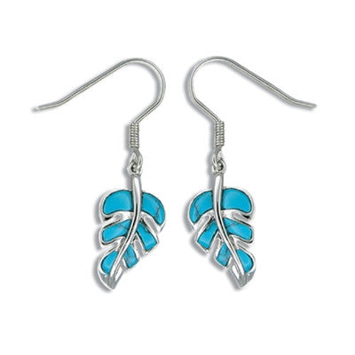 Sterling Silver Hawaiian Blue Turquoise Monstera Leaf Earrings