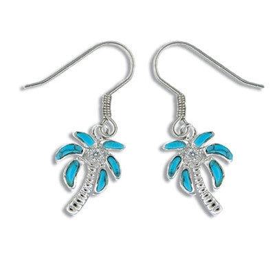 Sterling Silver Hawaiian Blue Turquoise Palm Tree Earrings