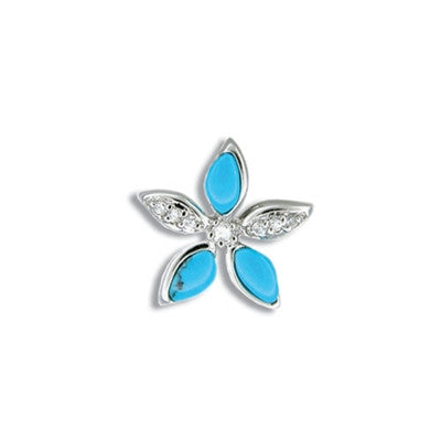 Sterling Silver Hawaiian Blue Turquoise Plumeria CZ Pendant