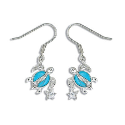 Sterling Silver Hawaiian Blue Turquoise Honu & Stars Earrings