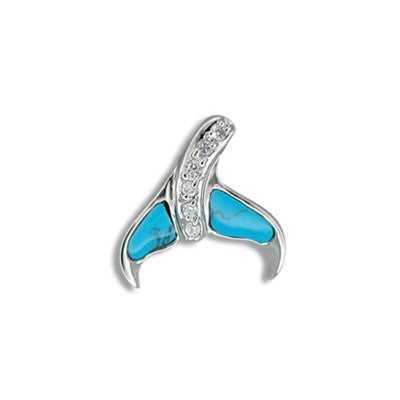 Sterling Silver Hawaiian Blue Turquoise Whale Tail CZ Pendant