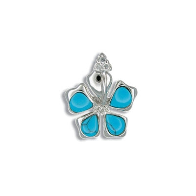 Sterling Silver Hawaiian Blue Turquoise Hibiscus CZ Pendant