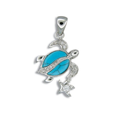 Sterling Silver Hawaiian Blue Turquoise Honu & Stars Pendant