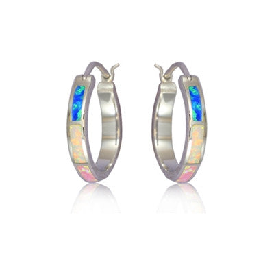 Sterling Silver Hawaiian Rainbow Opal Hoop Earrings~Large