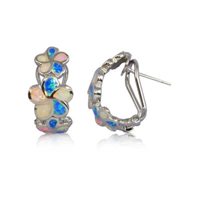Sterling Silver Hawaiian Rainbow Opal Plumeria Hoop Earrings