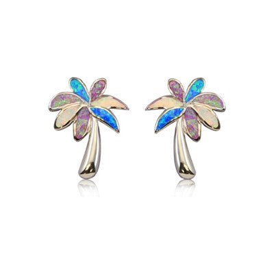 Sterling Silver Hawaiian Rainbow Opal Tropical Palm Stud Earrings
