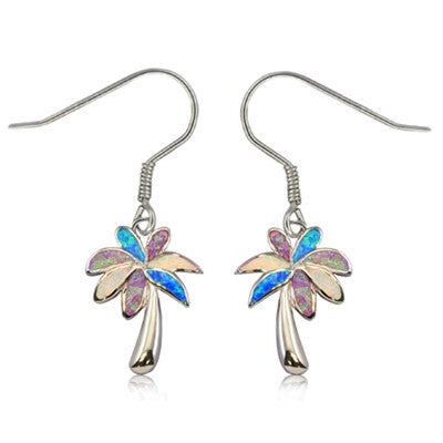 Sterling Silver Hawaiian Rainbow Opal Tropical Palm Dangle Earrings