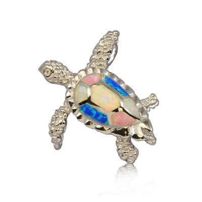 Sterling Silver Hawaiian Rainbow Opal Sea Turtle Pendant