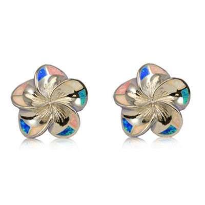 Sterling Silver Hawaiian Rainbow Opal Plumeria Stud Earrings~Small
