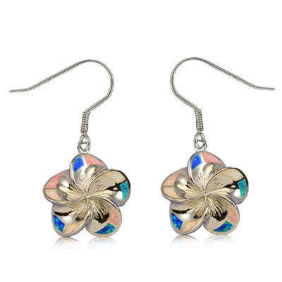 Sterling Silver Hawaiian Rainbow Opal Plumeria Dangle Earrings~Small