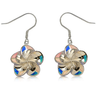 Sterling Silver Hawaiian Rainbow Opal Plumeria Dangle Earrings