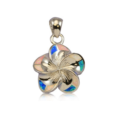 Sterling Silver Hawaiian Rainbow Opal Plumeria Pendant~Medium